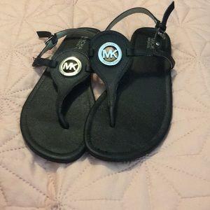 Michael Kors black T strap sandal